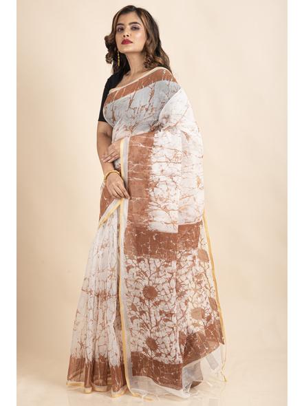 White Brown Batik Printed Golden Border Saree-2