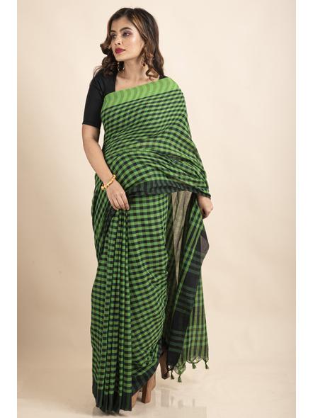 Green Black Cotton Handloom Checkered Gamcha Saree-2