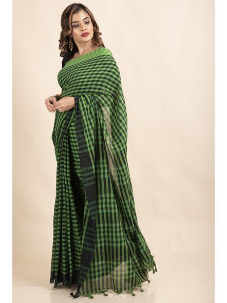 Green Black Cotton Handloom Checkered Gamcha Saree-4