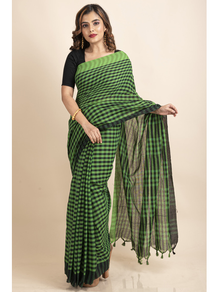 Green Black Cotton Handloom Checkered Gamcha Saree-LAACHS020