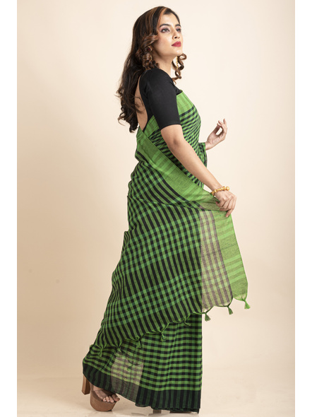 Green Black Cotton Handloom Checkered Gamcha Saree-3