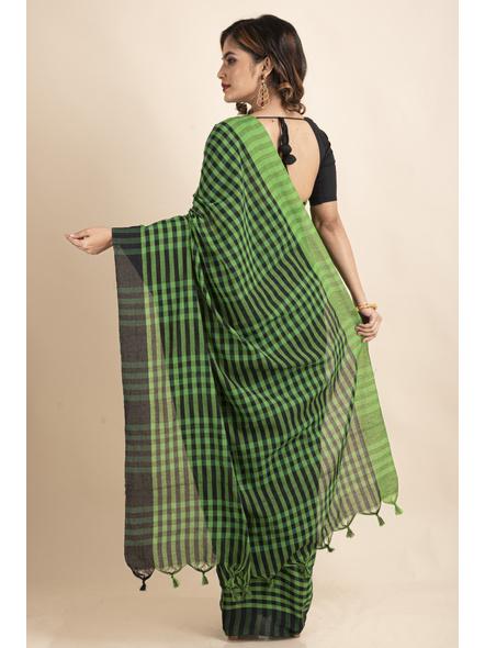 Green Black Cotton Handloom Checkered Gamcha Saree-1