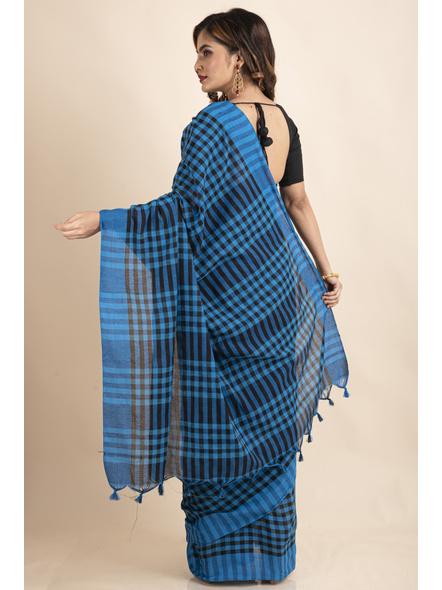 Blue Black Cotton Handloom Checkered Gamcha Saree-1