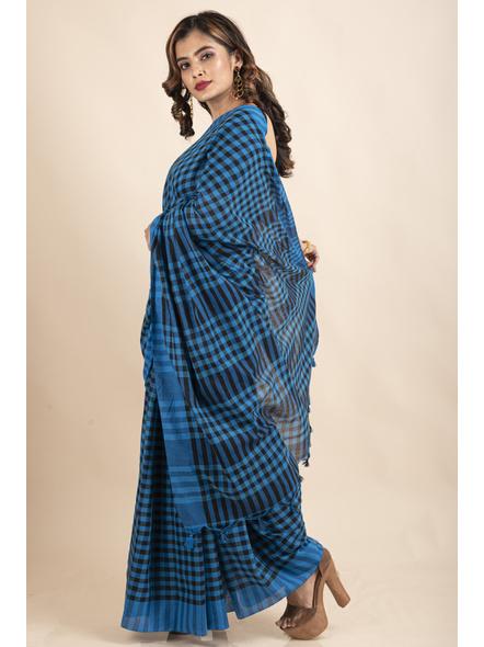 Blue Black Cotton Handloom Checkered Gamcha Saree-2