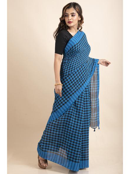 Blue Black Cotton Handloom Checkered Gamcha Saree-4