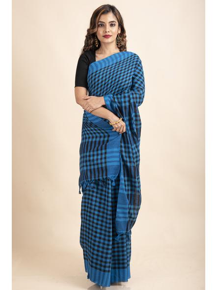 Blue Black Cotton Handloom Checkered Gamcha Saree-LAACHS021