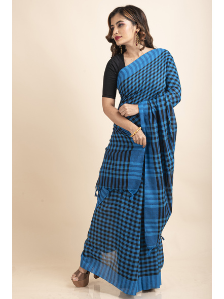 Blue Black Cotton Handloom Checkered Gamcha Saree-5