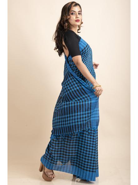Blue Black Cotton Handloom Checkered Gamcha Saree-3