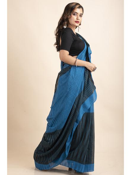 Pure Cotton Blue Black Santipuri Pompom Jharna Khadi Saree-4