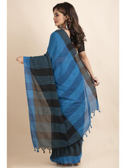 Pure Cotton Blue Black Santipuri Pompom Jharna Khadi Saree-1