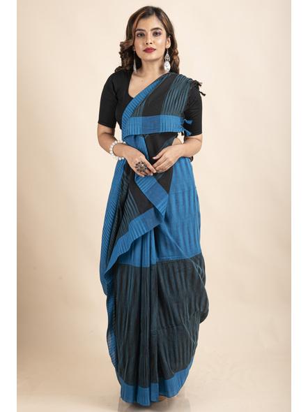 Pure Cotton Blue Black Santipuri Pompom Jharna Khadi Saree-LAAJKCS003