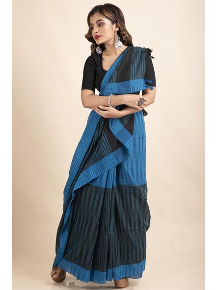 Pure Cotton Blue Black Santipuri Pompom Jharna Khadi Saree-3