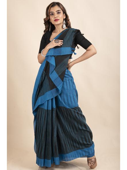Pure Cotton Blue Black Santipuri Pompom Jharna Khadi Saree-2