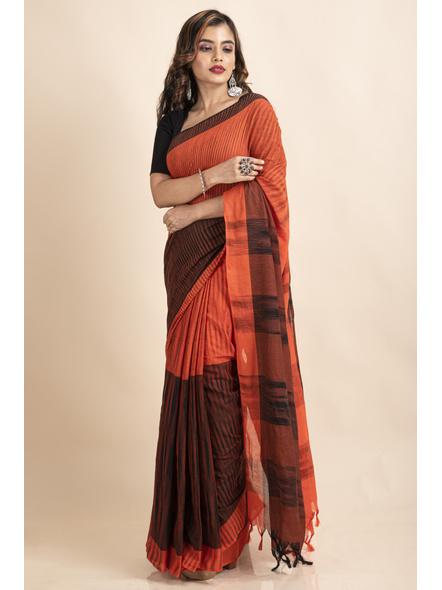 Pure Cotton Orange Black Santipuri Pompom Jharna Khadi Saree-3