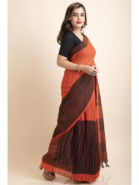 Pure Cotton Orange Black Santipuri Pompom Jharna Khadi Saree-2