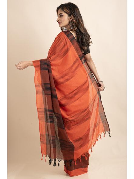 Pure Cotton Orange Black Santipuri Pompom Jharna Khadi Saree-1