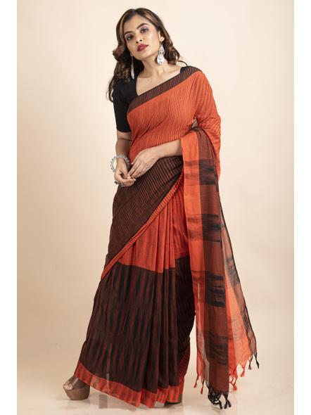 Pure Cotton Orange Black Santipuri Pompom Jharna Khadi Saree-LAAJKCS004