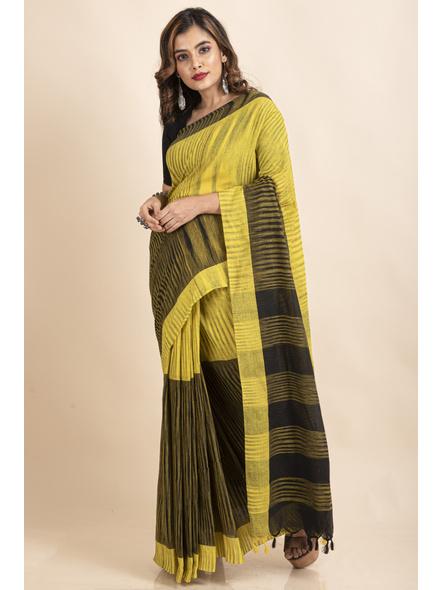 Pure Cotton Yellow Black Santipuri Pompom Jharna Khadi Saree-4