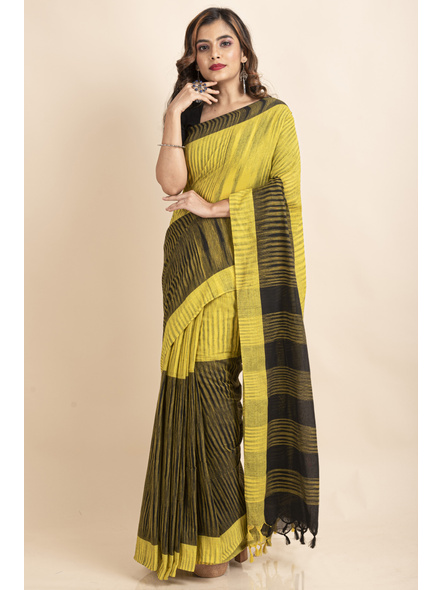 Pure Cotton Yellow Black Santipuri Pompom Jharna Khadi Saree-2