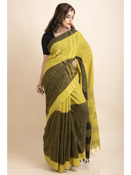 Pure Cotton Yellow Black Santipuri Pompom Jharna Khadi Saree-LAAJKCS005