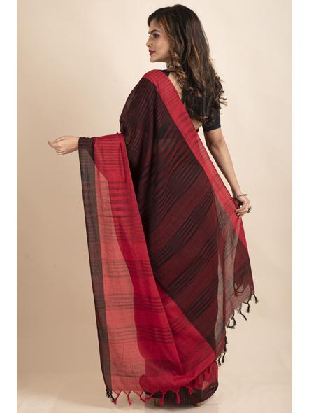 Pure Cotton Red Black Santipuri Pompom Jharna Khadi Saree-1