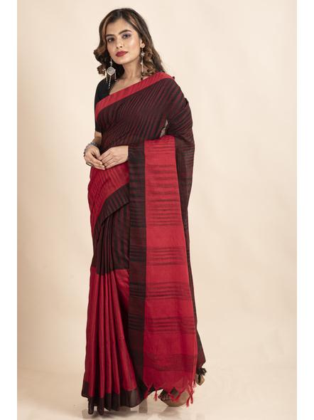 Pure Cotton Red Black Santipuri Pompom Jharna Khadi Saree-4