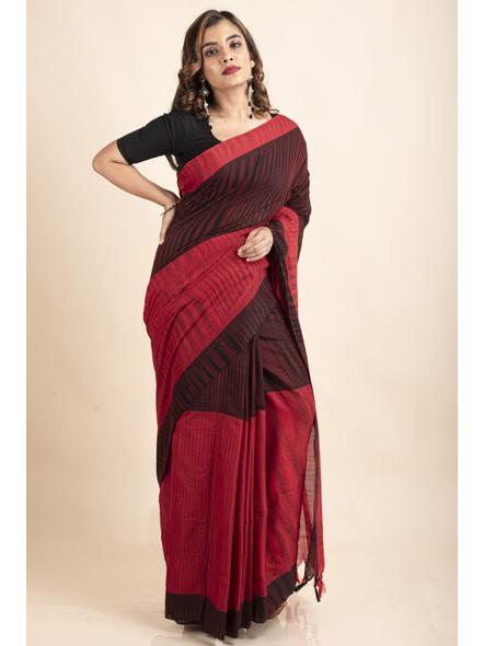 Pure Cotton Red Black Santipuri Pompom Jharna Khadi Saree-LAAJKCS006