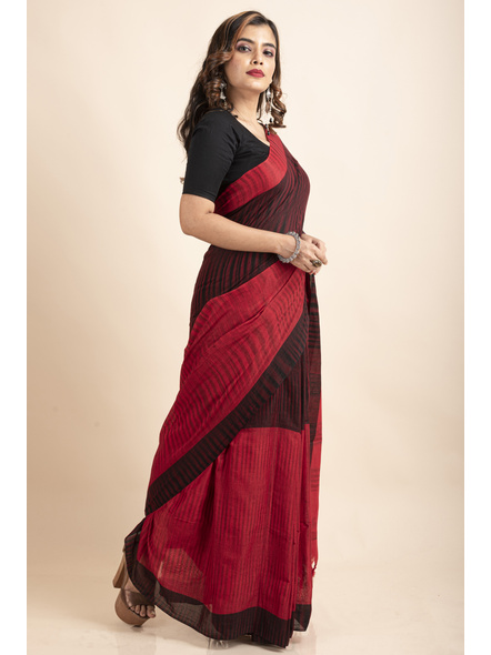 Pure Cotton Red Black Santipuri Pompom Jharna Khadi Saree-3