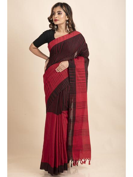 Pure Cotton Red Black Santipuri Pompom Jharna Khadi Saree-2