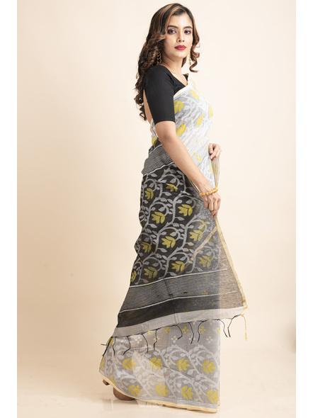 Silver Yellow Black Cotton Silk Madhabilata Print Saree with Blouse Piece-4