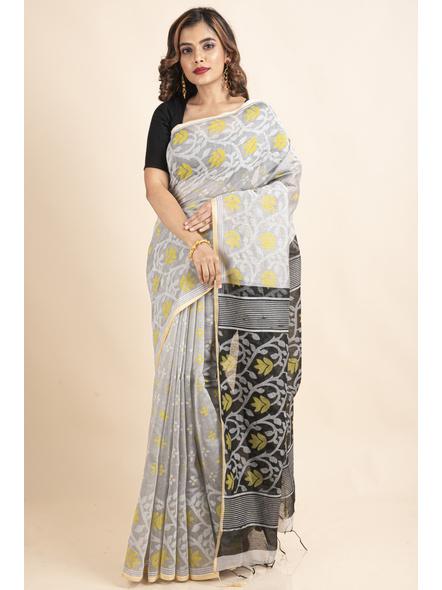 Silver Yellow Black Cotton Silk Madhabilata Print Saree with Blouse Piece-LAACSHS017