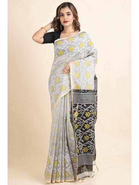 Silver Yellow Black Cotton Silk Madhabilata Print Saree with Blouse Piece-3