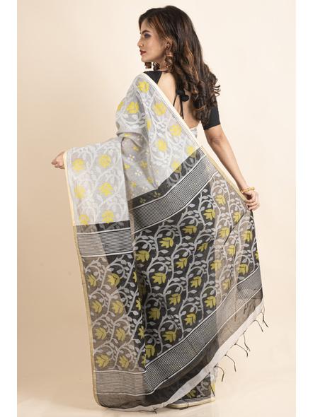 Silver Yellow Black Cotton Silk Madhabilata Print Saree with Blouse Piece-1