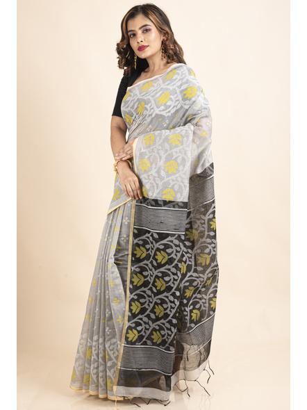 Silver Yellow Black Cotton Silk Madhabilata Print Saree with Blouse Piece-2