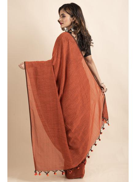Rust Orange Mercerized Handloom Khadi Cotton Saree with Pompom and Blouse Piece-1
