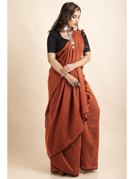 Rust Orange Mercerized Handloom Khadi Cotton Saree with Pompom and Blouse Piece-4