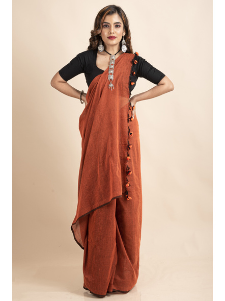 Rust Orange Mercerized Handloom Khadi Cotton Saree with Pompom and Blouse Piece-3