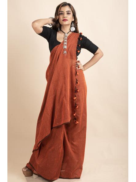 Rust Orange Mercerized Handloom Khadi Cotton Saree with Pompom and Blouse Piece-2