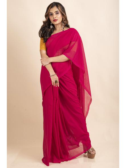 Mercerized Handloom Khadi Cotton Fuschia Pink Saree with Blouse Piece-LAAMHCWBP028