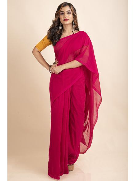 Mercerized Handloom Khadi Cotton Fuschia Pink Saree with Blouse Piece-2