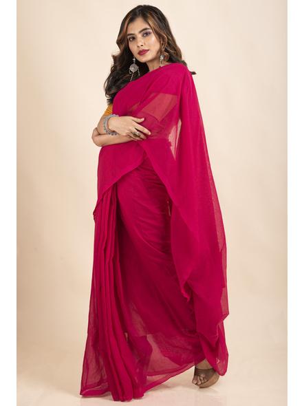 Mercerized Handloom Khadi Cotton Fuschia Pink Saree with Blouse Piece-3