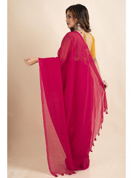 Mercerized Handloom Khadi Cotton Fuschia Pink Saree with Blouse Piece-1