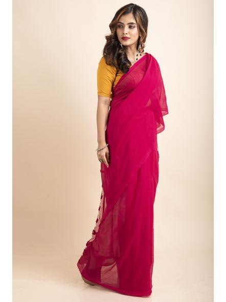 Mercerized Handloom Khadi Cotton Fuschia Pink Saree with Blouse Piece-4