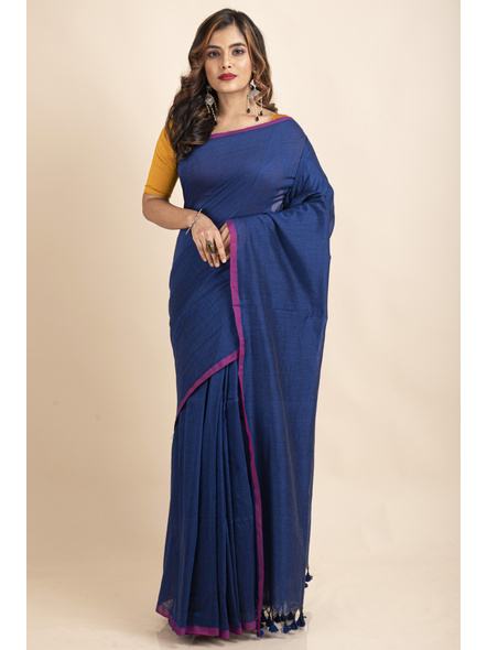 Royal Blue Mercerized Handloom Khadi Cotton Saree with Blouse Piece-LAAMHCWBP029