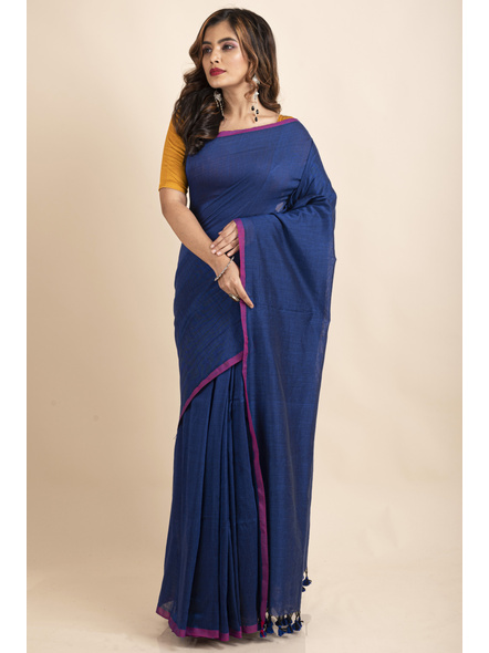 Royal Blue Mercerized Handloom Khadi Cotton Saree with Blouse Piece-3