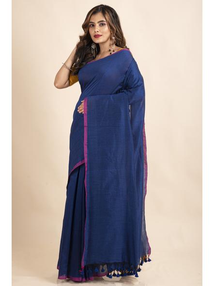 Royal Blue Mercerized Handloom Khadi Cotton Saree with Blouse Piece-2