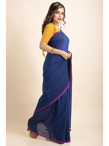 Royal Blue Mercerized Handloom Khadi Cotton Saree with Blouse Piece-4