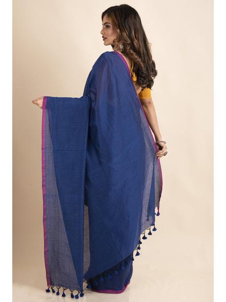 Royal Blue Mercerized Handloom Khadi Cotton Saree with Blouse Piece-1