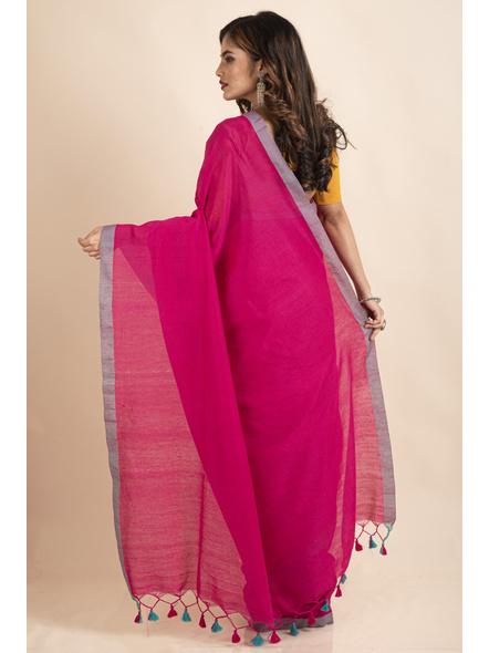 Khadi Cotton Fuchsia Pink Teal Green Border Pompom Handloom Saree with Blouse Piece-1