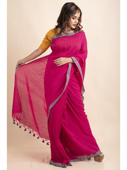 Khadi Cotton Fuchsia Pink Teal Green Border Pompom Handloom Saree with Blouse Piece-3